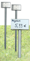 Stand-Ettiketten&Metallgehäuse mit Profilstab verzinkt