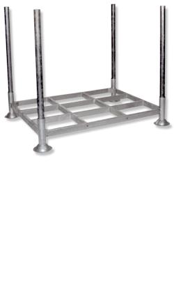 Stahlpalette verz. 1365x1000mm mit verstärkten Ecken, inkl. 4 Rohre